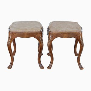 Carved Walnut Stools, Set of 2