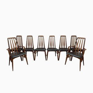 Teak Eva Dining Chairs by Niels Koefoed for Koefoed Hornslet, 1960s, Set of 8