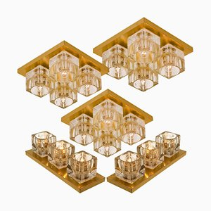 Brass and Glass Wall or Ceiling Lamps from Peill & Putzler, 1960s, Set of 5