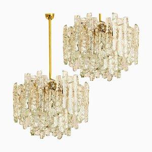 Modern Brass & 2-Tier Ice Glass Pendant Chandeliers by J.T. Kalmar, 1960s, Set of 2