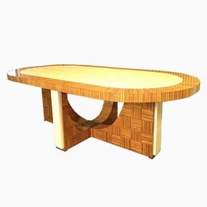 Oval Italian Art Deco Zebrano Wood Table, 1930s