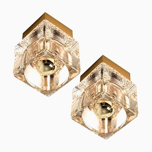 Brass and Glass Cube Wall or Ceiling Lamp from Peill & Putzler, 1970s