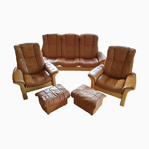 Brown Leather Sofa Set with Secret Storage Box, Set of 5