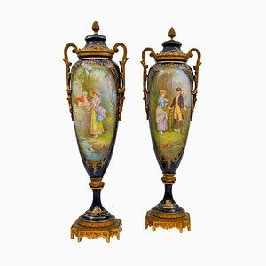 Antique Covered Vases in Sèvres Porcelain, Set of 2