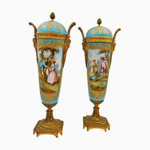 Antique Covered Vases in Sèvres Porcelain and Gilt Bronze, Set of 2