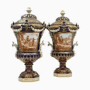 Antike Überzogene Porzellanvasen, 2er Set