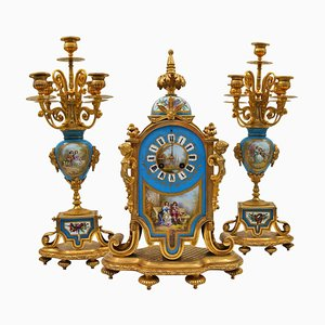 Antique Painted and Gilded Bronze Porcelain Mantel Set, Set of 3
