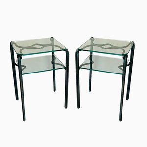 French Wrought Iron Side Tables with Glass Shelves, 1970s, Set of 2