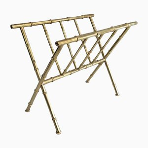 Faux-Bamboo and Brass Magazine Rack in the Style of Jacques Adnet, 1970s