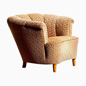 Swedish Velvet Jacquard Club Lounge Cocktail Chair, 1940s
