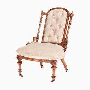 Antique Victorian Carved Walnut Chair