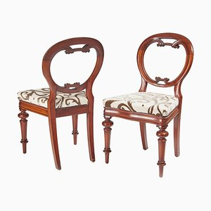 Antique Victorian Mahogany Balloon Back Chairs, Set of 2