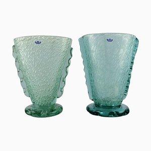 Vases in Turquoise Art Glass by Karin Hammar for Stockholm Glasbruk, Set of 2