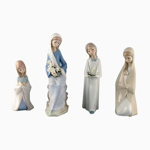 Porcelain Girl Figurines from Lladro, Spain, 1970s, Set of 4
