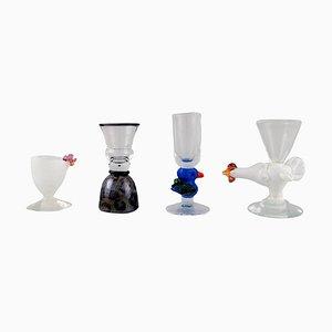 Glasses or Vases by Ulrica Hydman Vallien for Kosta Boda, 1980s, Set of 4