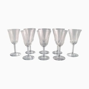 Red Wine Glasses in Mouth-Blown Crystal Glasses from St. Louis, Belgium, 1930s, Set of 8