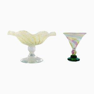 Vase und Kompott aus Mundgeblasenem Glas von Reijmyre, Sweden, 2er Set