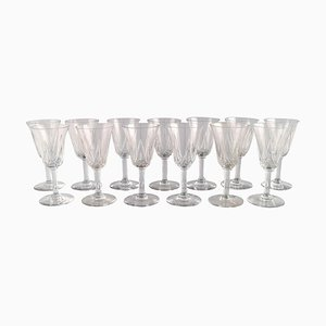Glasses in Mouth Blown Crystal Glass from St. Louis, Belgium, 1930s, Set of 13