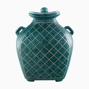 Argenta Lidded Vase in Ceramic by Wilhelm Kage for Gustavsberg, 1940s