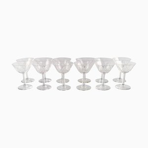 Champagne Glasses in Mouth-Blown Crystal Glass from St. Louis, Belgium, 1930s, Set of 12