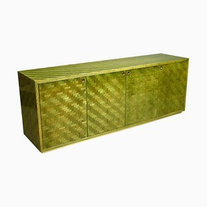Italian Mosaic Credenza in Green Palm Leaf and Brass by Smania, Italy, 1970s