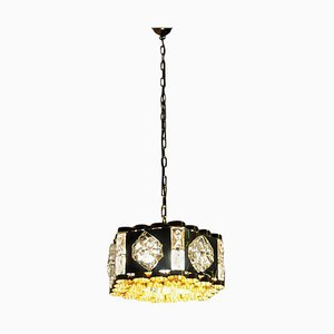 Norwegian Brass and Glass Ceiling Lamp from Metallservice AS, 1970s