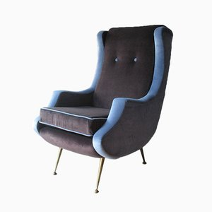 Vintage French Velvet Armchair, 1950s