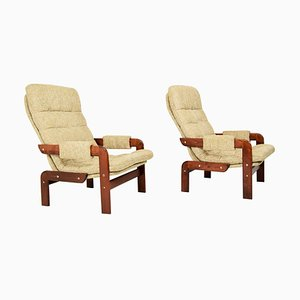 Scandinavian Oak Armchair, 1970s, Set of 2