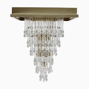 Large Glass and Brass Chandelier, Italy, 1970s
