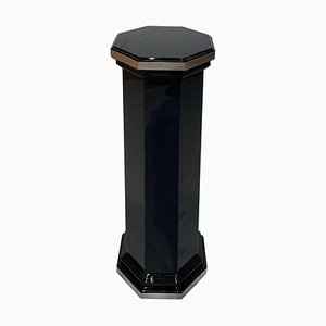 Art Deco Octagonal Column Pedestal in Black Lacquer and Trims, France, 1930s