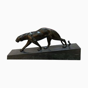 Walking Panther Sculpture in Patinated Cast Bronze, France, Mid-20th Century