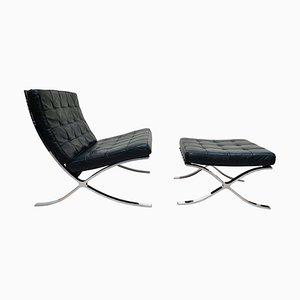 Sedia Barcelona con ottomana in pelle nera di Ludwig Mies van der Roh per Knoll International, anni '60, set di 2
