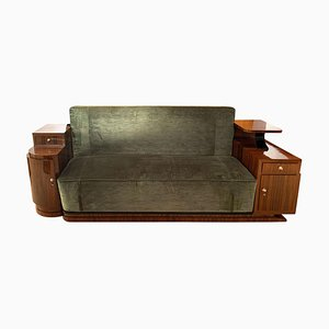 Art Deco Sofa in Walnut Veneer and Green Velvet, 1930s