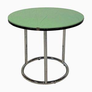 Tavolino rotondo Bauhaus in metallo cromato e vetro nero e verde, Germania, anni '30