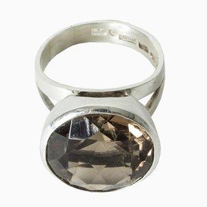 Silver and Smoke Quartz Ring by Pauli Nieminen for Kaunis Koru, 1972
