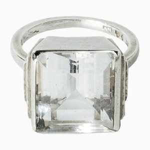 Silver and Rock Crystal Ring by Wiwen Nilsson, 1938