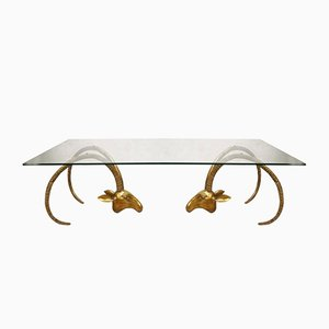 Mid-Century Brass Ram Coffee Table by in the Style of Alain Chervet, 1960s