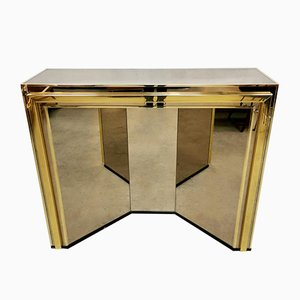 Mid-Century Brass & Mirrored Console Wall Cabinet, 1970s