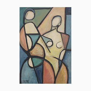 STM, Cubist Figures in Color, 1960s, Oil on Board
