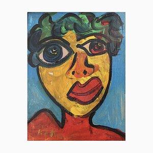 Peter Robert Keil, Portrait of Woman in Berlin, 1980s, Acrylic on Board