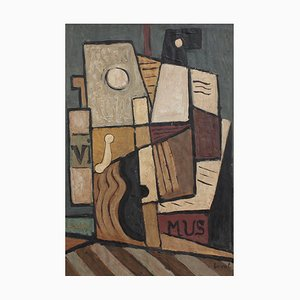 Laval, Still Life with Guitar, Carafe and Sheet Music, 1960s, Oil on Board