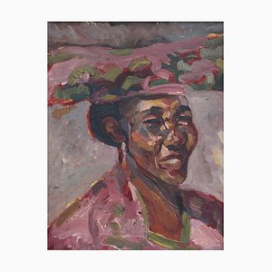 Woman in Headdress French School Painting, 1960s