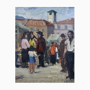 Market Day in Piazza Grande Locarno Switzerland Painting, 1940s
