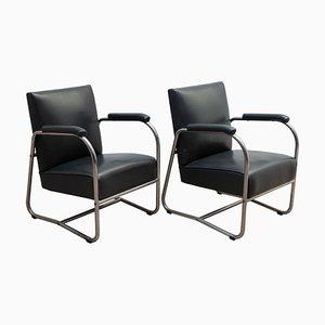 Bauhaus Armlehnstühle aus Chrom & Stahlrohr von Gispen, 1930er, 2er Set