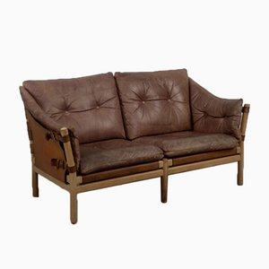 Skandinavisches Vintage 2-Sitzer Safari Sofa aus Eichenholz & Leder, 1960er