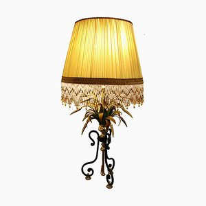 Wrought Iron & Brass Table Lamp, 1980s