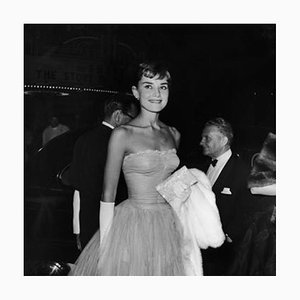 Hepburn At Premiere Silver Gelatin Resin Print Framed In White by Hulton Archive