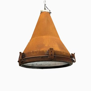 Vintage Industrial Korean Steel Conical Pendant Ceiling Light with Applied Rust Finish, 1970s