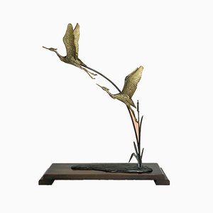 Hollywood Regency Brass Flying Cranes Statue in the Style of André Vincent Becquerel, 1970s