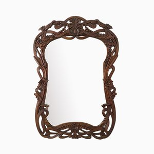 Vintage Art Nouveau French Mirror with Carved Flowers